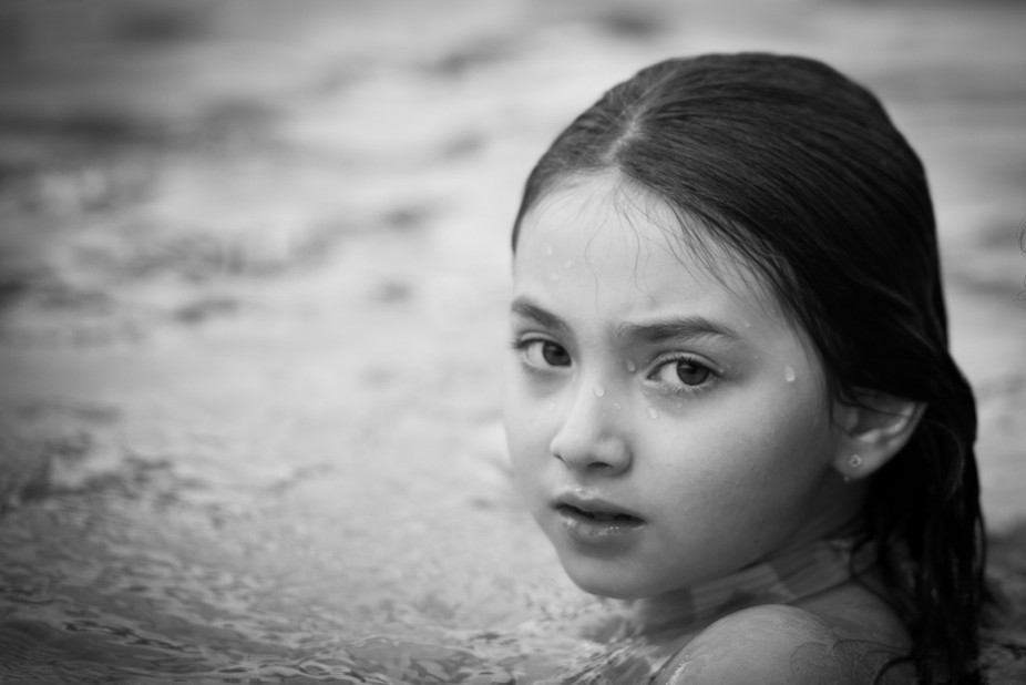 My Niece at the pool, captured a moment that can be so difficult some times which is that in betw...