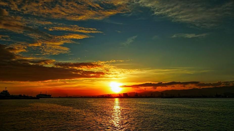 Twilight over the seaport of Cebu City, Philippines.