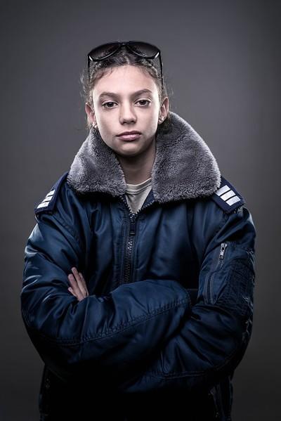 Boy in military jacket