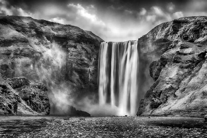 Skogafoss by stumac - Landscapes In Black And White Photo Contest