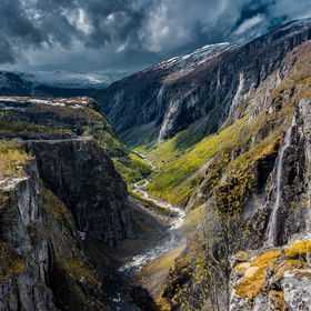 Vøringfossen lies at the top of Måbødalen in the municipality of Eidfjord in Hordaland, Norway. It has a total drop of 182 meters, and a major...