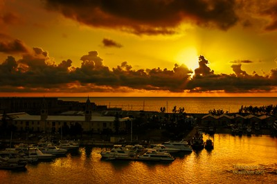 Royal Naval Dockyard Clock Tower with a Perfect Sunset, Bermuda 6-2-2011.