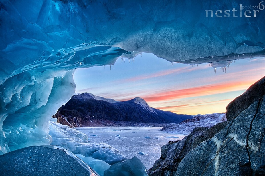 Sunset view from Mendenhall glacier in Juneau, AK.