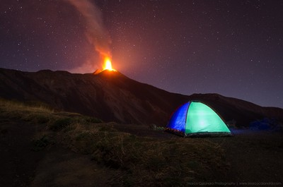 Camping on the volcano Etna