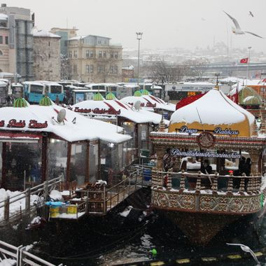 This photo was taken in Istanbul first day of 2016. It was cold and snowing at the same time.
