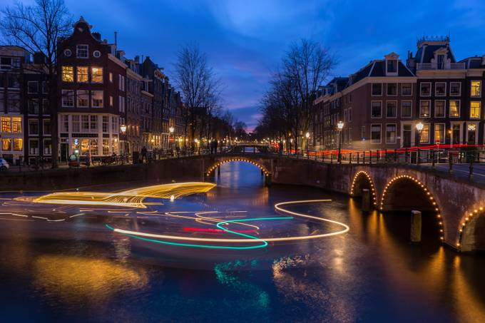 Amsterdam canal cruise light trails. by shanzhi - Showing Movement Photo Contest