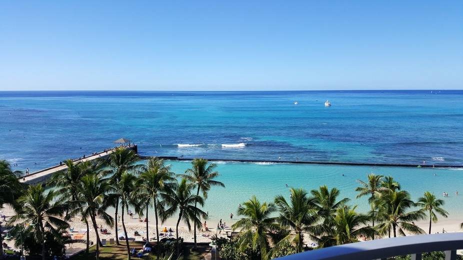 Waikiki Beach view from our hotel room