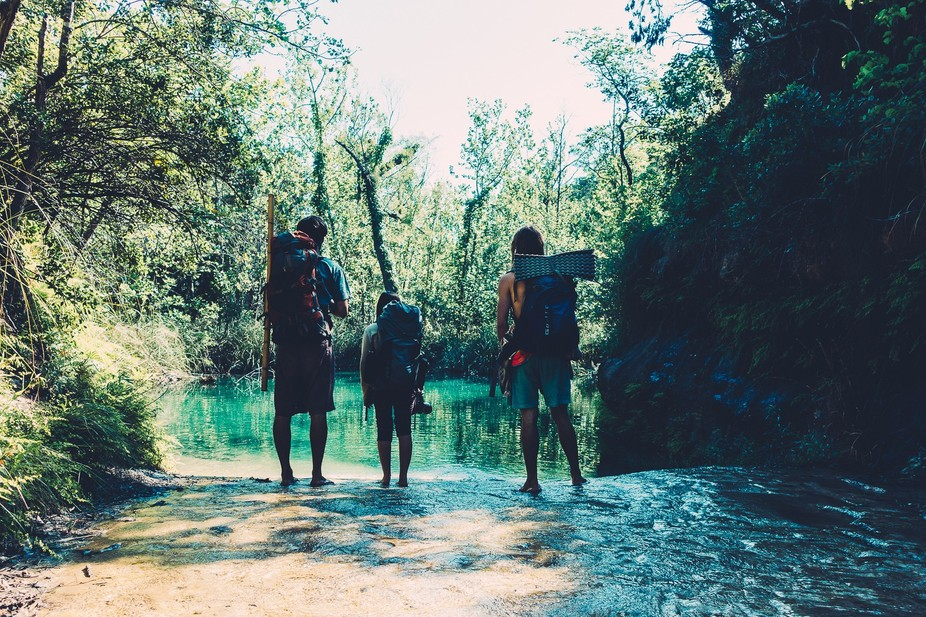 After a day of backpacking we decided to follow a small stream that led to a hidden waterfall and...