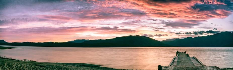 Amazing sunset at Lake Hauroko, Fiordland National Park, New Zealand