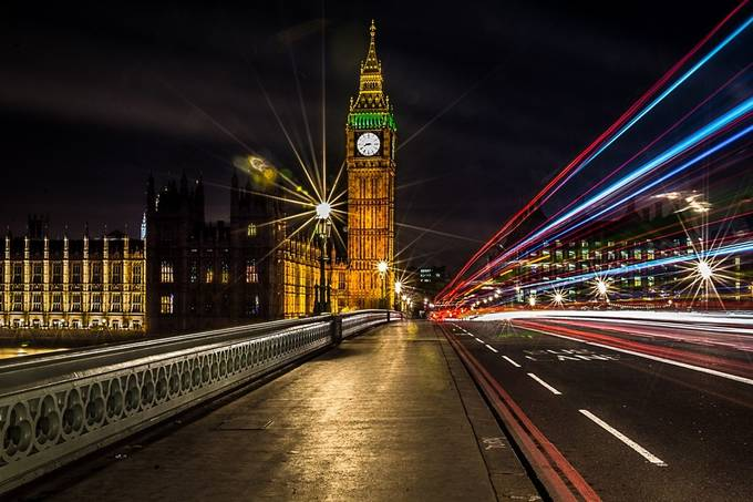 Westminster bridge at night by AkanjeePhotography - City In The Night Photo Contest