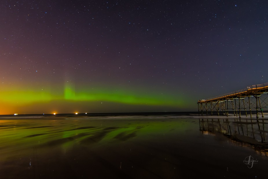 New Years eve Saltburn  Uk  and the lights put on a show to bring the new year in