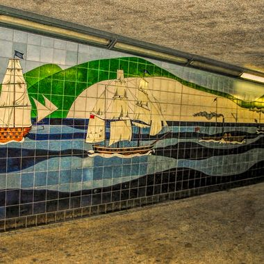 a nautical theme in a Norwegian subway