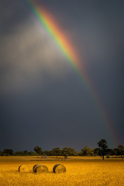 Rainbow Sky on the Farm