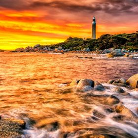 Eddystone Lighthouse, Tasmania, at sunrise. Eddystone Lighthouse is at the northeast tip of Tasmania.