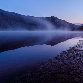 Loch Lubnaig near Strathyre, Scotland, on a misty morning, captured during blue hour, taken with my Canon 6d, 17 - 40 f/4 L lens, 17mm focal leng...