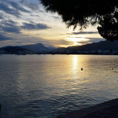 Sunset over Puerto Pollenca bay in Majorca.