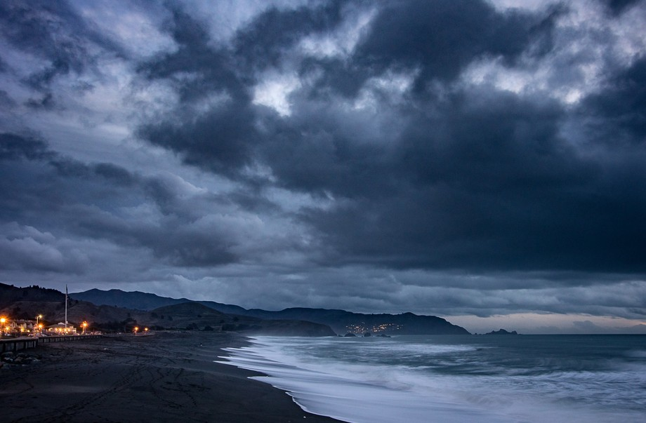 Pacifica shores after dark