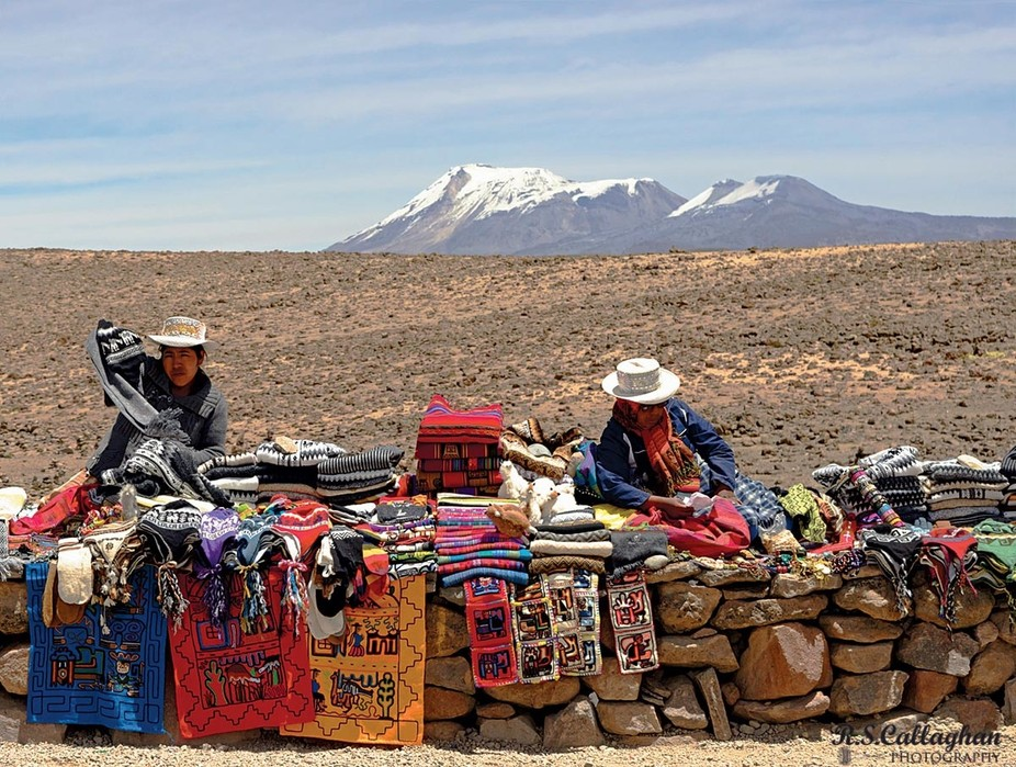 While crossing the Peruvian Andes we stopped at the highest point for a break and found the ubiquitous salespeople selling their wares.