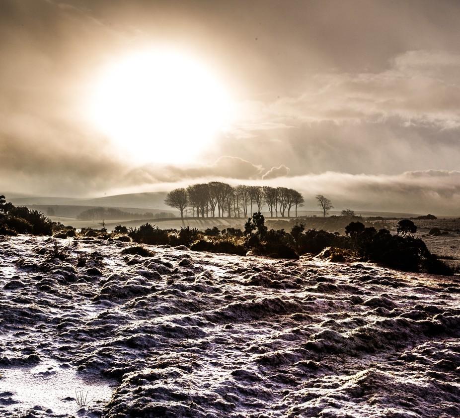 dartmoor snowy sunrise