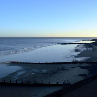 Cromer Beach in the UK at sunrise on a cold December morning.