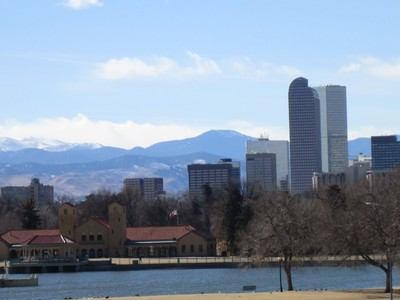 Rocky Mountains and Denver from City Park