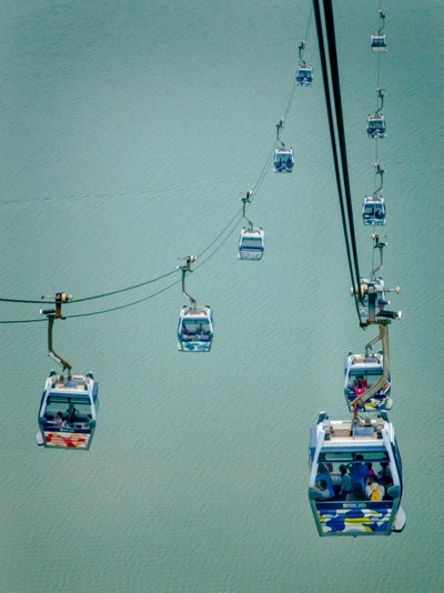 Hanging in Space on the Lantau Island Tram