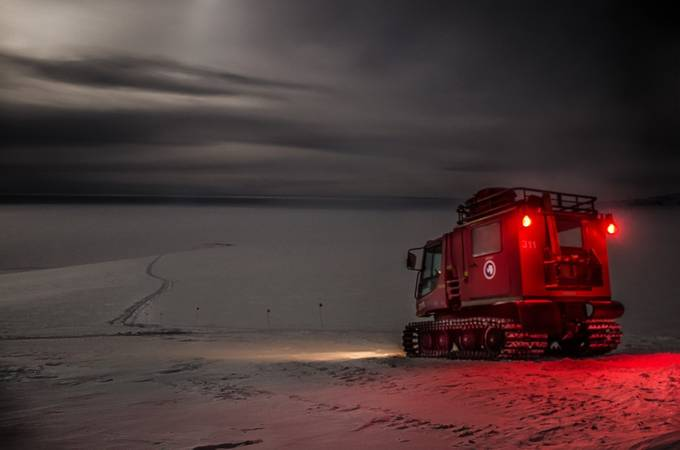 Pistonbully at noon during an Antarctic winter by kiramorris - Winter Roads Photo Contest