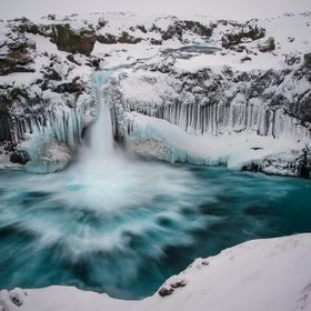 I went to Aldeyjarfoss today, one of my many trips there. I did three types of photography, this one using a ND filter.