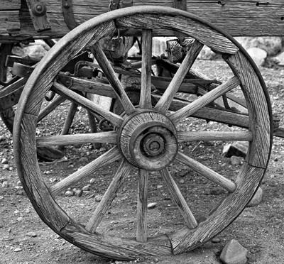 Old Wagon Wheel in Black & White.