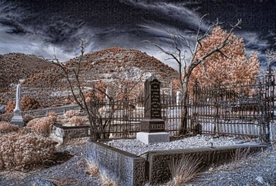 Virginia City, Nevada Cemetery In Infrared