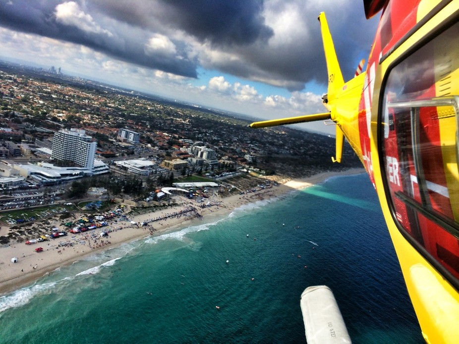 Flying over Scarborough Beach in Perth, Western Australia. An aircrewman's point of view.