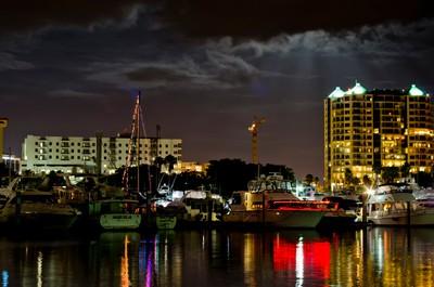 Moon Rays Over The Marina