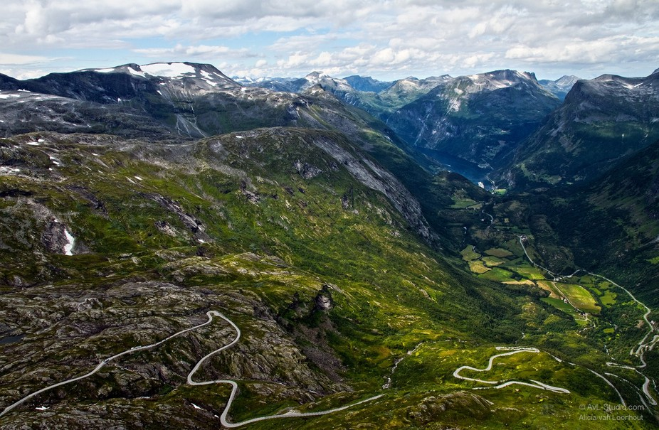 Overview Geiranger fjord and mountains in Norway