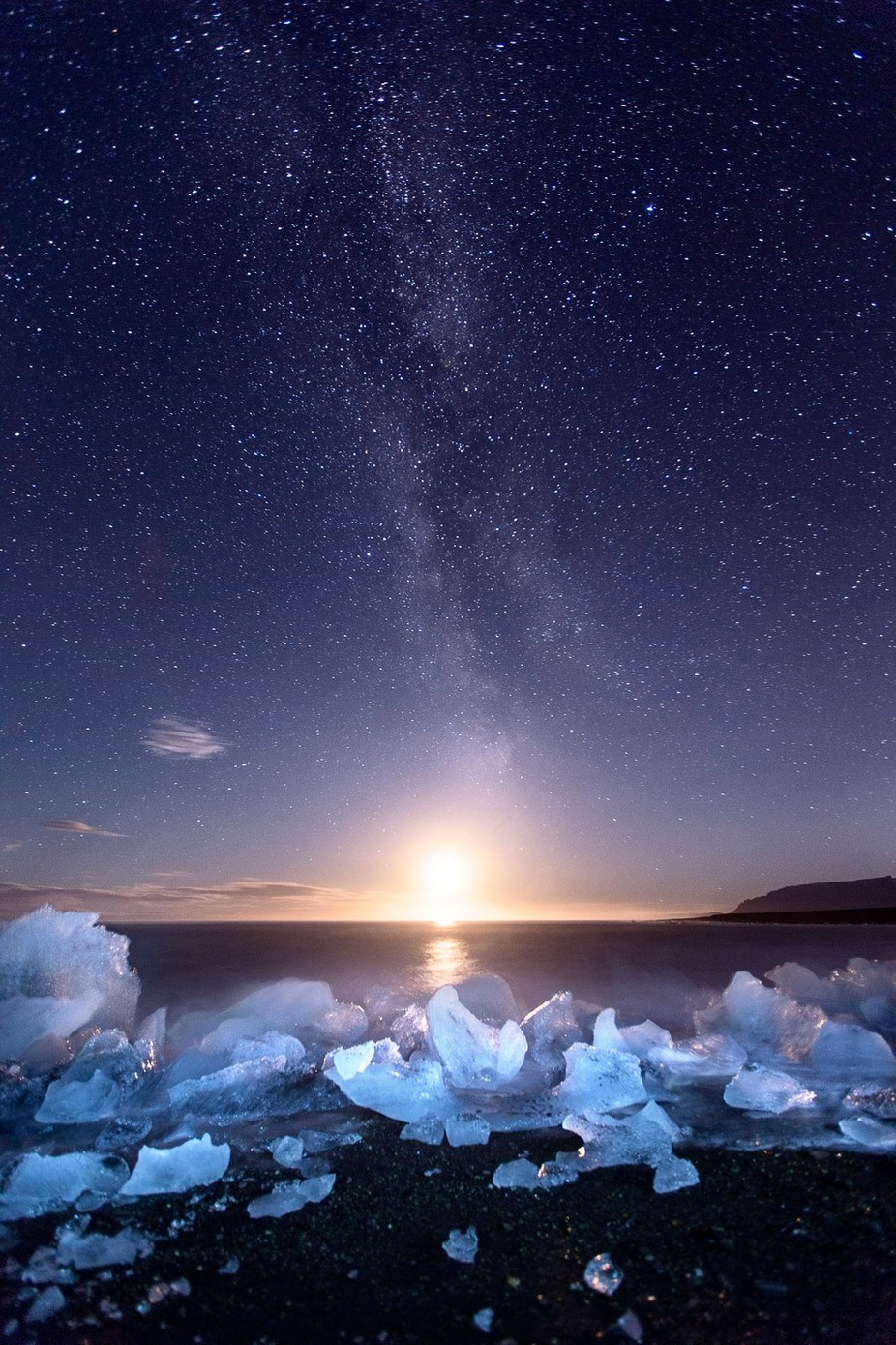 Icy Beach Moonset by madspeteriversen - The Four Elements Photo Contest