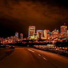 The City of Edmonton coming alive at night by the Fort Sask river. What a gorgeous night it was.