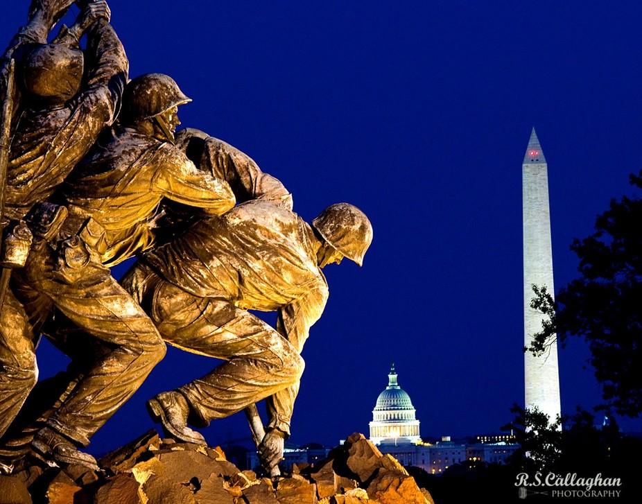 Three of Washington, D. C.'s major landmarks, from the Iwo Jima Memorial in Arlington, VA.