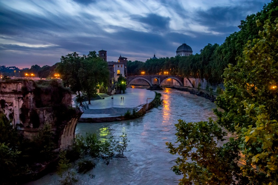 Night at the Tiber River, Rome