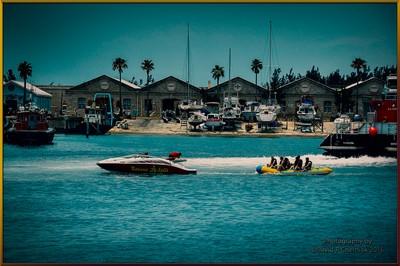 Royal Navel Dockyard Storage Buildings and Banana Split Boat Bermuda 6-3-2011.