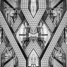 Bon Marche, Paris; picture reflected and then rotated sideways