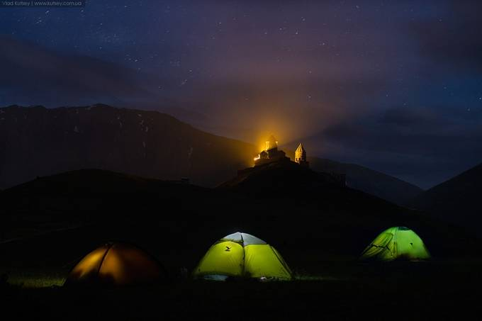 My tent & Gergeti Trinity Church by kutsey - Outdoor Camping Photo Contest
