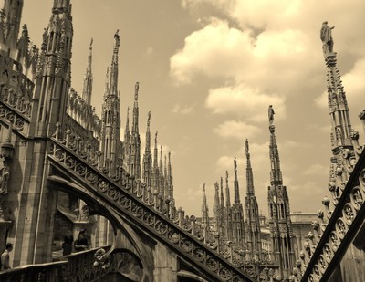 The view from the top of the cathedral in Milan