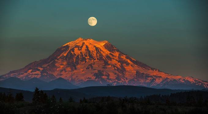 Mt. Rainier and a full moon overhead by brentmorris - The Moonlight Photo Contest