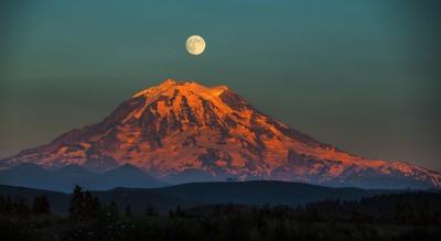 Mt. Rainier and a full moon overhead