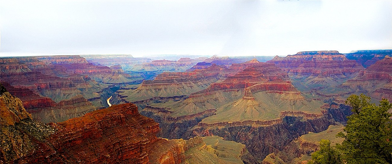 Panoramic view of Grand Canyon Formations.