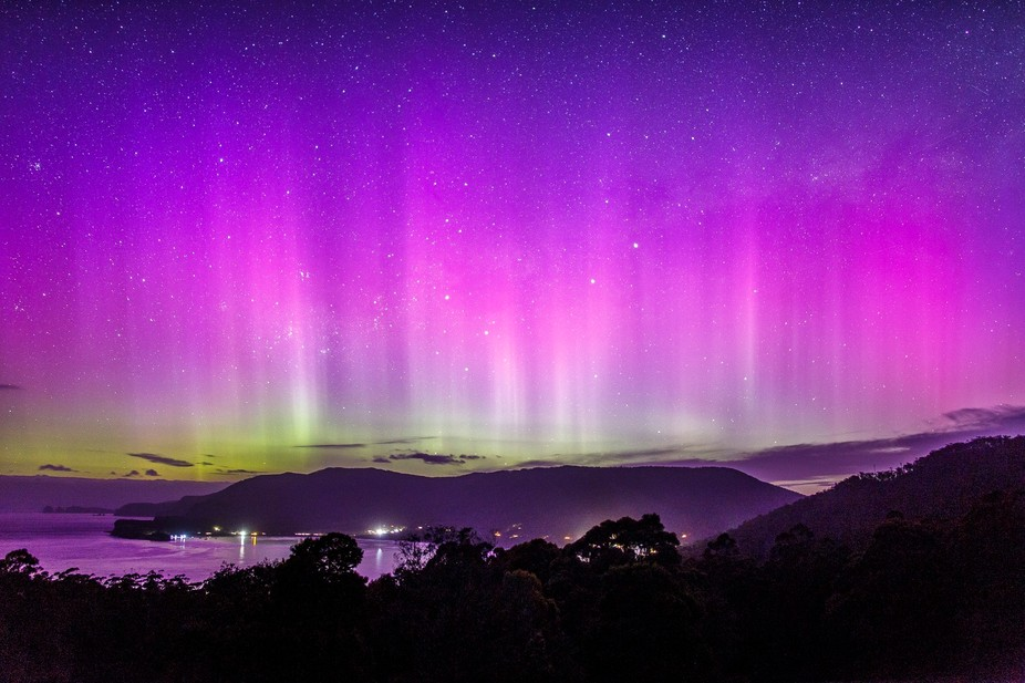 A Tasmanian aurora. Towards the end of blue hour the sky exploded with color, November 7 2015.