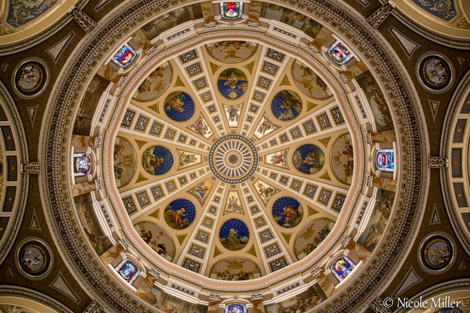 The dome inside the Basilica of St Josaphat in Milwaukee, WI