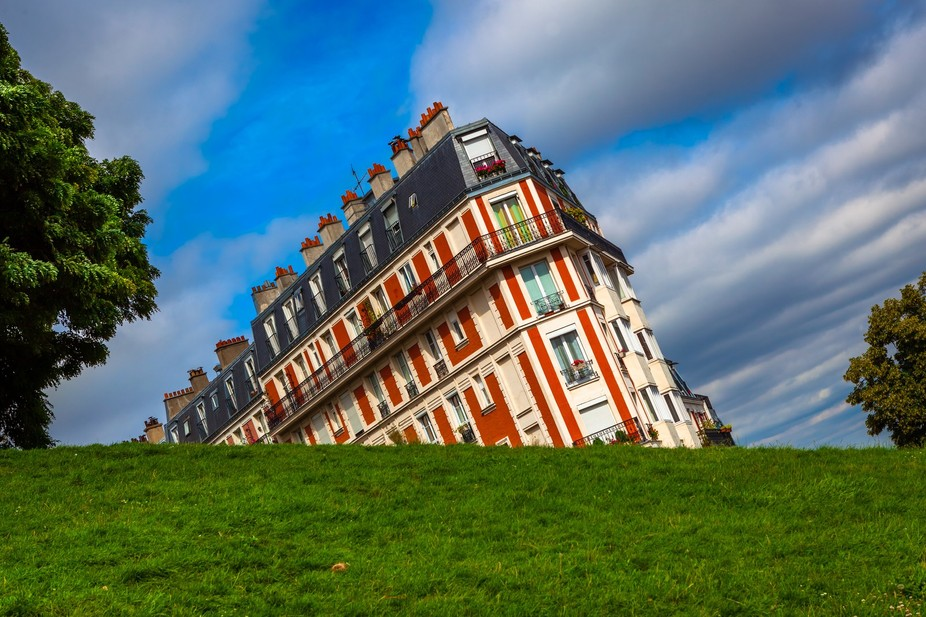 Famous sinking building in Montmartre area of Paris.
