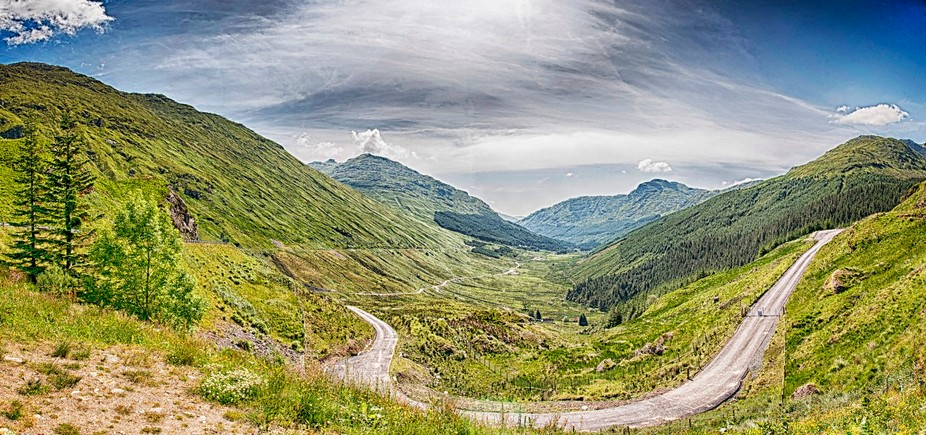 The rest and be thankful situated in the Scottish wilderness.