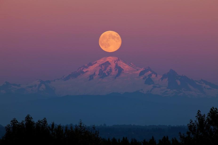 Moon over Mount Baker