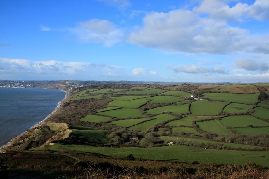 View from the top of Golden Cap Dorset's highest peak towards Devon.